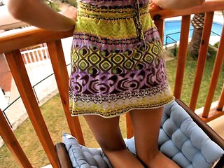 I don't know everything that could be compared with staring at cute playful teen women exposing some of almost all intimate, sweetest spots of their bodies or having valuable sex with their boyfriends! This time is not the exception and now I recommend u to watch the cutie posing in her light sundress on balcony.