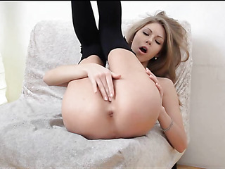 Sex appeal honey showing delights and caressing moist bawdy cleft