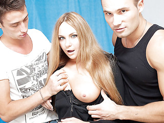 3 oversexed men were bored as hell and wanted to fuck, so one of 'em went out to discover some chick. What a surprise, a cute neighbour of his was walking in the park, and that babe assented to have a cup of tea with him! Looks like this hot blondie will be the star of an amateur DP video :) At First that babe didn't want to take part in real hard fuck, but did this babe have any choice? The lustful men got her nude in no time and made her do hard unfathomable face hole. Then it was time for real anal fucking, ...