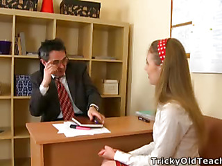 Cute babe came to the teacher's place and agreed to please him. The old guy pets her pinkish vagina.