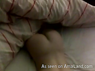 Whore stands doggy style feeling rod in bawdy cleft from behind