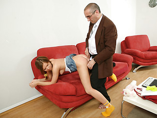 Old naughty teacher fills every single constricted aperture of a bad student with his big firm jock.