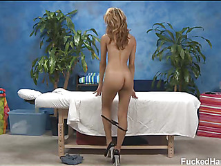 Hawt and excited 18 year old doxy acquires a hard fuck from her massage therapist