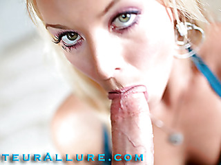 Shay likes to give head and that hottie shows just how much when this hottie bobs and throats a big 10-Pounder aggressively during the time that rubbing her hairless love tunnel then this hottie receives drilled real hard merely to have a massive load of cum shot into her expecting mouth.