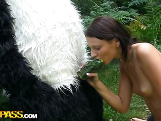 On a sunny summer day a glamorous artist decided to go to the woods to paint a glamorous landscape picture. But her plans were ruined when this honey saw a biggest panda bear coming near her. However, this guy turned out to be so cute and playful, the teenage honey forgot about her painting and even let him take her clothes off. And then this honey saw panda's thong on penis, and there was merely impure sex on her mind. The girl widen her legs wide, letting the lewd bear drill her dripping pussy with that astonishing megadildo of ...