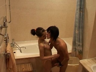 Cute amateur teen with merry scoops bonks a giant white wang