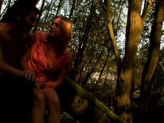Adorable, yet slutty non-professional skinny babe starts sex on the log