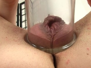 Placing a pump on her cum-hole creates wild pleasures for honey