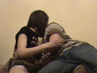 Chap chokes his ribald whore, while hammering her in the room