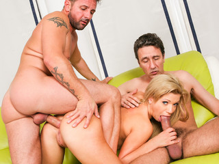 Wicked golden-haired muff receives double jabbed by huge thick dicks!