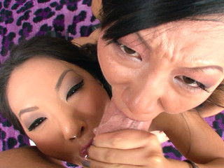 Asa Akira and Tia Ling one as well as the other swallow performer's large ramrod.