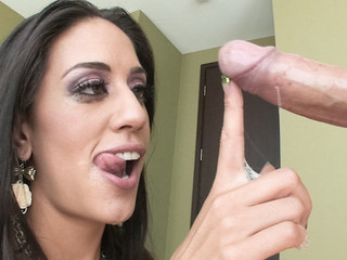 Lyla Storm nearly drowns on a sea of cum after engulfing knob