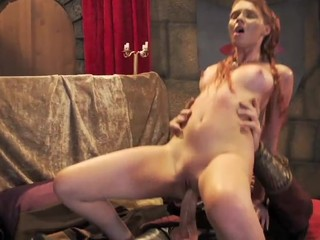 Pulsating ramrod squeezed into tight vagina