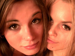 Little Caprice and Sabrina Golden-haired fooling aroun bare in sauna
