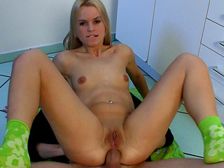 Czech beauty Sabrina Golden-haired receives extraordinary sized dick up in her taut butt