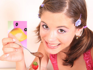 Very small beauty Caprice acquires overspread with chocolate and touches her miniature bawdy cleft