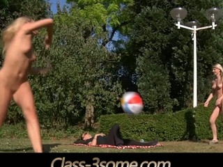 2 joyful blond legal age teenagers plays in the garden but at some point their ball rolls over the laying cock nearby. That pont of time the real play starts. The juvenile golden-haired legal age teenagers ad the horny cock angages in a hardcore fuck