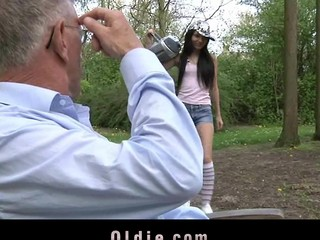Wicked and playful Nataly Von seduces the old dude with pleasing kissing and intensive oral job stimulation. She doesn't miss a drop of semen from her mouth.