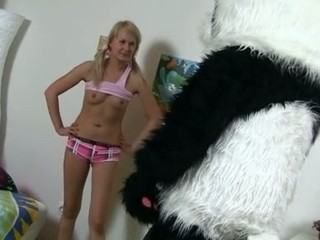 What would u do if your much loved panda teddy bear turned out to be alive and damn horny? Probably u'd be scared at first, like this charming golden-haired teenager. But then this babe realized that it offered so many exciting possibilities... In fact, this babe's always wanted to have sex with big toys. And there's nothing larger than panda's shiny black strapon dick! Furthermore, the combination of pleasure and sex is really irresistible. Watch an exciting sex play that ended up as real smutty sex. Oh, and there's a nifty cumshot in the end!